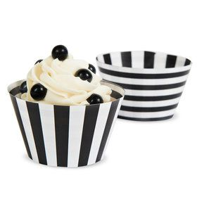 Black White Striped Reversible Cupcake Wrappers