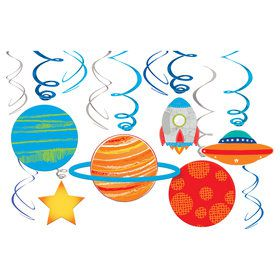 Blast Off Birthday Foil Swirl Hanging Decorations (12)