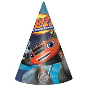 Blaze and the Monster Machines Paper Cone Hats (8 Pack)
