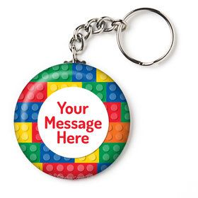 "Block Party Personalized 2.25"" Key Chain (Each)"