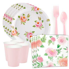 Blooming Elegance Roses Floral Standard Tableware Kit (Serves 8)