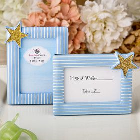 Blue and Gold photo frame / place card frame