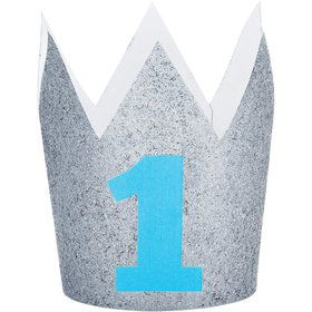 Blue and Silver 1st Birthday Crown