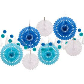 Blue and White 10 pc Paper Decoration Kit