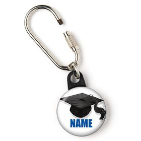 "Blue Caps Off Graduation Personalized 1"" Carabiner (Each)"