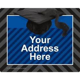 Blue Caps Off Graduation Personalized Address Labels (Sheet of 15)