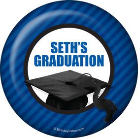 Blue Caps Off Graduation Personalized Button (Each)
