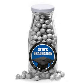 Blue Caps Off Graduation Personalized Glass Milk Bottles (12 Count)