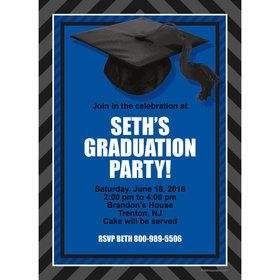 Blue Caps Off Graduation Personalized Invitation (Each)