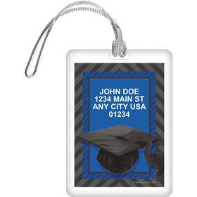 Blue Caps Off Graduation Personalized Luggage Tag (Each)