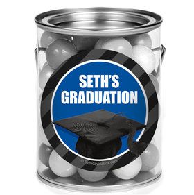 Blue Caps Off Graduation Personalized Mini Paint Cans (12 Count)