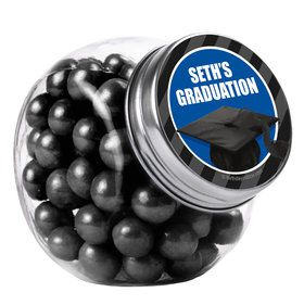 Blue Caps Off Graduation Personalized Plain Glass Jars (12 Count)