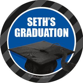 Blue Caps Off Graduation Personalized Stickers (Sheet of 12)