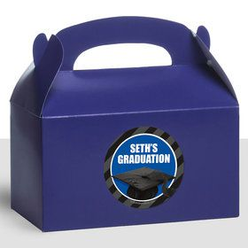Blue Caps Off Graduation Personalized Treat Favor Boxes (12 Count)