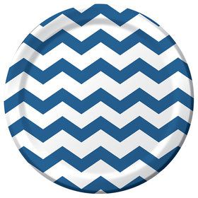"Blue Chevron 9"" Luncheon Plate (8 Count)"