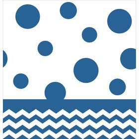 Blue Chevron & Dots Table Cover