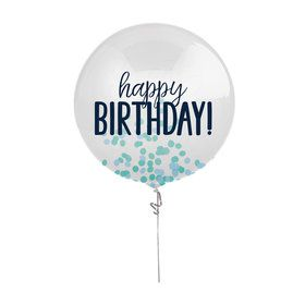 "Blue Confetti 24"" Birthday Balloon"