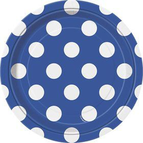 "Blue Dots 7"" Cake Plates (8 Pack)"
