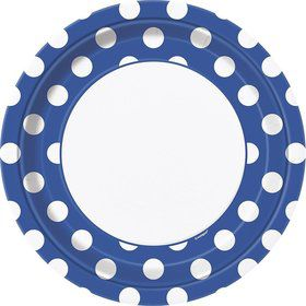 "Blue Dots 9"" Luncheon Plates (8 Pack)"