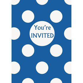 Blue Dots Invitations (8 Pack)