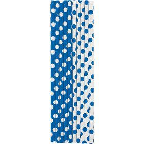 Blue Dots Paper Straws (10 Count)