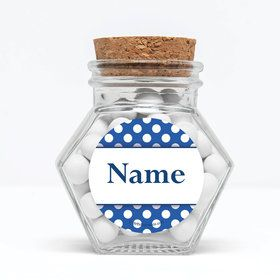 """Blue Dots Personalized 3"""" Glass Hexagon Jars (Set of 12)"""