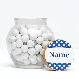 "Blue Dots Personalized 3"" Glass Sphere Jars (Set of 12)"