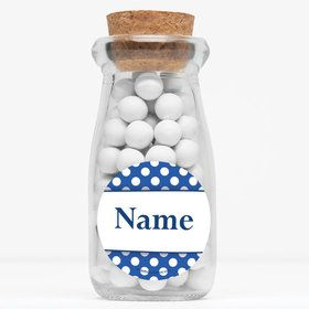 "Blue Dots Personalized 4"" Glass Milk Jars (Set of 12)"