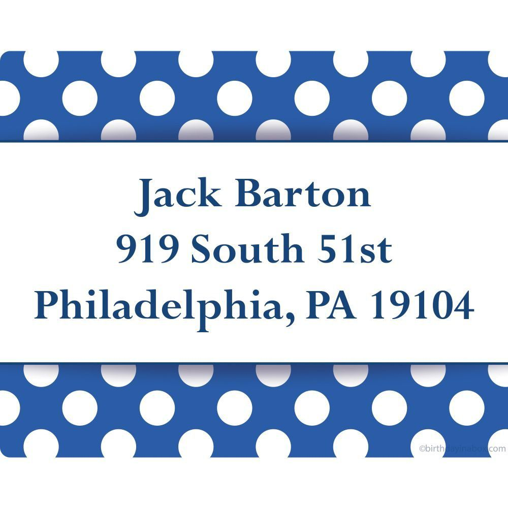 blue dots personalized address labels personalized party supplies