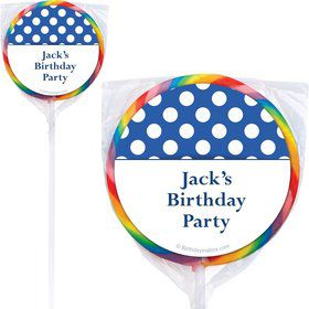 Blue Dots Personalized Lollipops (12 Pack)