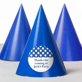 Blue Dots Personalized Party Hats (8 Count)
