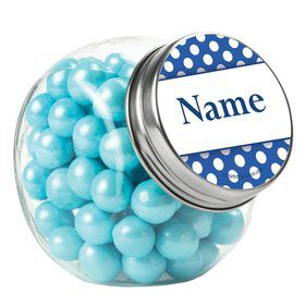 Blue Dots Personalized Plain Glass Jars (10 Count)