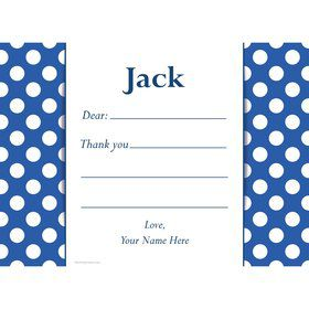 Blue Dots Personalized Thank You Note (Each)