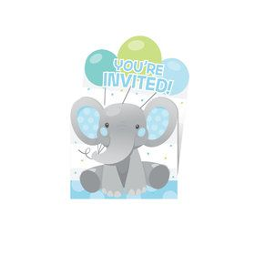 Blue Elephant Birthday Pop Up Invitation