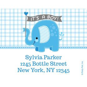 Blue Elephant Personalized Address Labels (Sheet of 15)