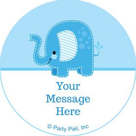 Blue Elephant Personalized Mini Stickers (Sheet of 20)