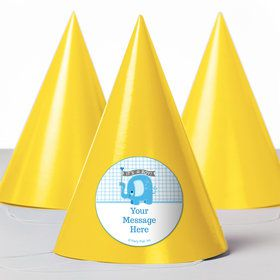 Blue Elephant Personalized Party Hats (8 Count)