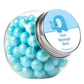 Blue Elephant Personalized Plain Glass Jars (12 Count)