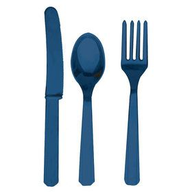 Blue Forks, Knives and Spoons (8 each)