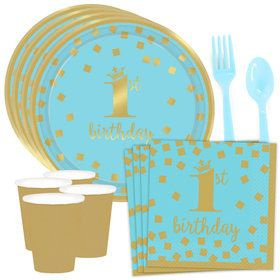 Blue & Gold Confetti 1st Birthday Standard Tableware Kit (Serves 8)