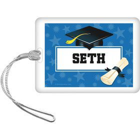 Blue Grad Personalized Bag Tag (Each)