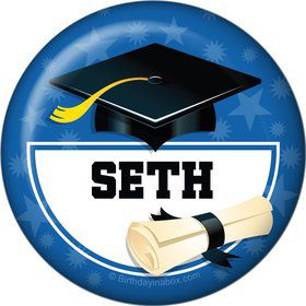 Blue Grad Personalized Button (Each)