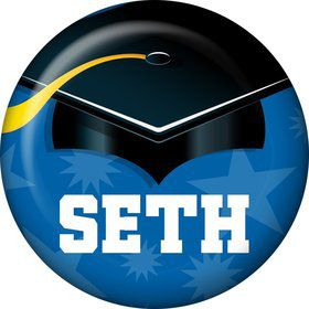 Blue Grad Personalized Mini Button (Each)