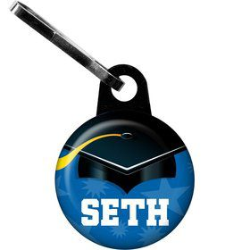 Blue Grad Personalized Zipper Pull (Each)