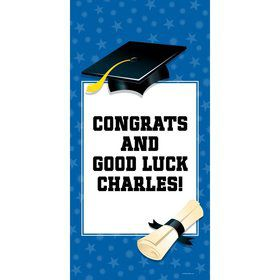"Blue Graduation Personalized Giant Banner 30X6"" (Each)"