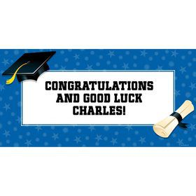 "Blue Graduation Personalized Giant Banner 60X3"" (Each)"