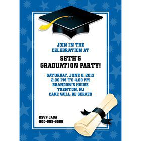 Blue Graduation Personalized Invitation (Each)