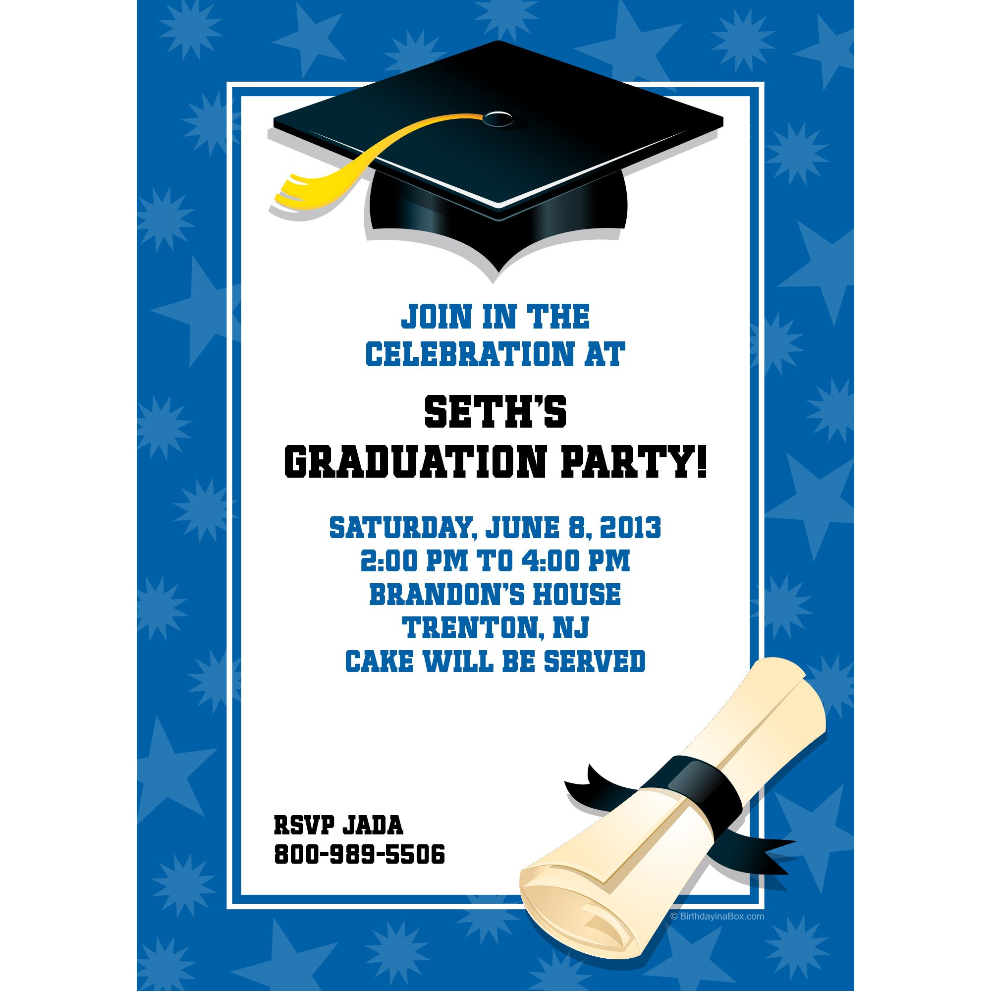 Blue Graduation Personalized Invitation (Each) - Party Supplies BB1311IN