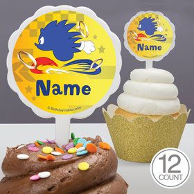 Blue Hedgehog Personalized Cupcake Picks (12 Count)