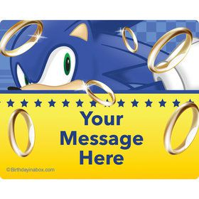 Blue Hedgehog Personalized Rectangular Stickers (Sheet of 15)
